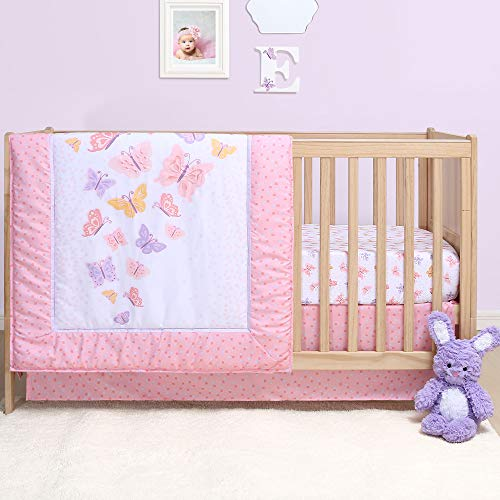 Pink and Purple Butterfly 4-Piece Baby Girl Crib Bedding Set by Belle