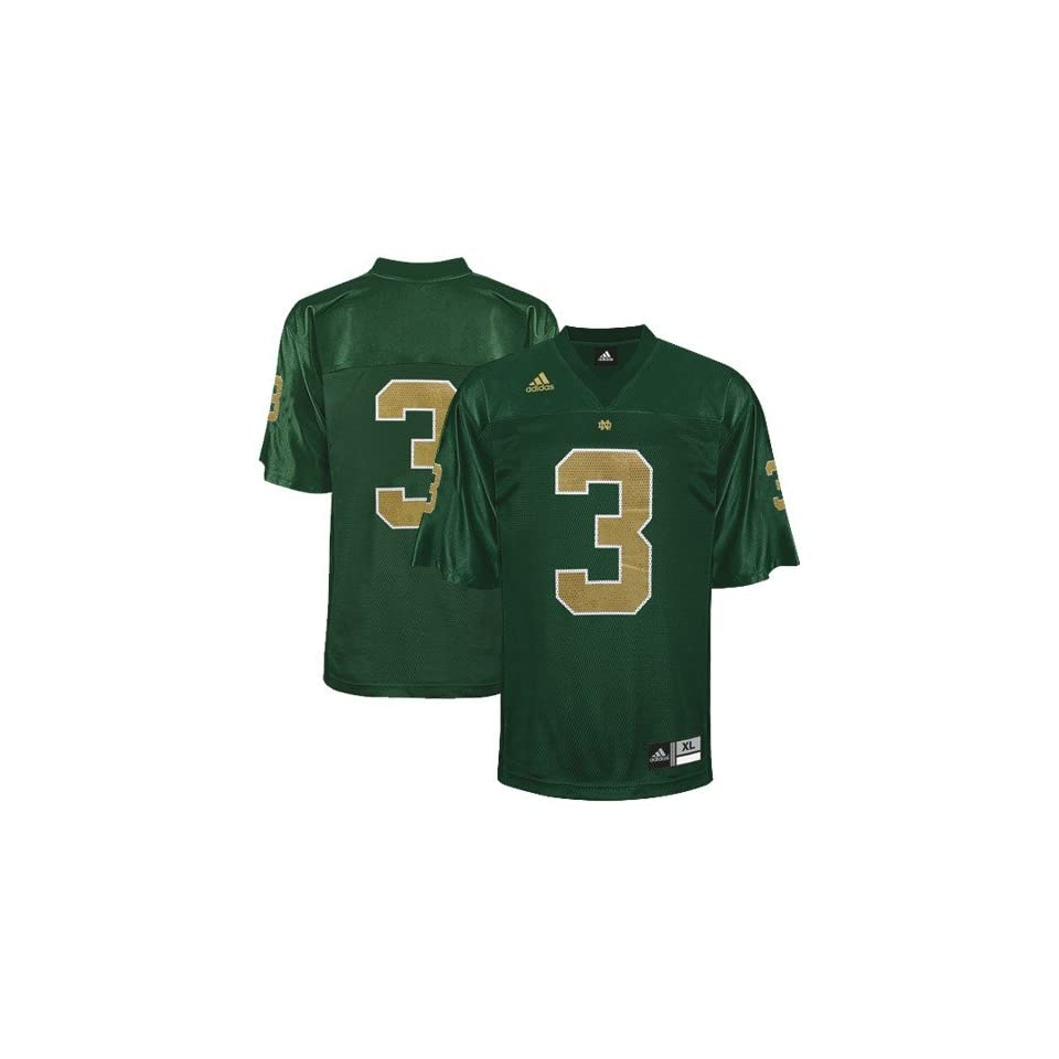 adidas Notre Dame Fighting Irish #3 Kelly Green Replica Football Jersey (Large)