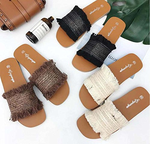 Pump Mujeres Shoes Solid Eu Cool vestir OL Beach Tassel Sandals Shoes Mules Tamaño Marrón 34 Sweet Zapatillas Toe Color de Heel Flat 40 Open Woven Court Zapatos qfwxH