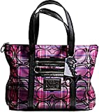 Coach Poppy Tartan Glitter Plaid Glam Pink Black Tote Shoulder Bag 14360
