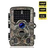 Heegomn Trail Camera 1080P Full HD 16MP Game Scouting Hunting Camera with 0.2s Trigger Time 120 Wide Angle Night Vision Up to 60ft WaterProof Stealth Cam for Widelife Hunting and Home Security, Camo