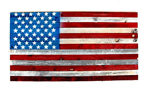 "Wooden American Flag Wall Decor Art Hanging Display US Flag Red White and Blue Old Glory Hand-Made Refurbished Barnwood Bedroom Living Room Indoor Outdoor Display 48""x27"" 4th of July"