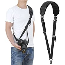 waka Rapid Fire Camera Neck Shoulder Strap w/Quick Release and Safety Tether, Sling Camera Strap for Nikon, Canon, Sony and Other DSLR Camera - Black