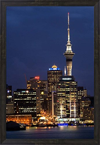 City skyline at night, Auckland CBD, North Island, New Zealand by David Wall / Danita Delimont Framed Art Print Wall Picture, Espresso Brown Frame, 21 x 30 - Auckland Auckland Cbd