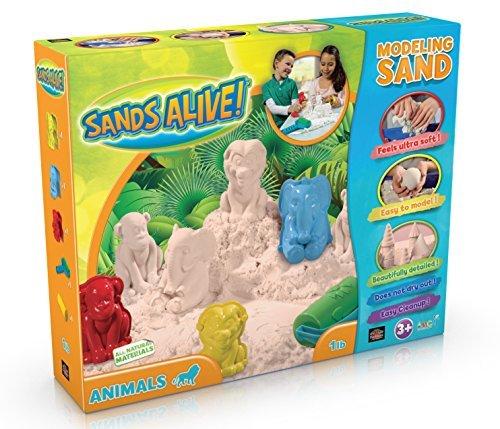 3D Safari Animal Sand Molds Set - 1 lb Sands Alive, 3 3D Animal Shapes, 2 Rollers And Play Sand Tray - Sand Animal