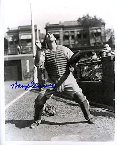 Harry Danning (D.2004) Autographed/ Original Signed 8x10 B&W Photo Showing Him w/ the New York Giants (1933-1942) - 4x All-Star