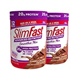 SlimFast Advanced Nutrition Creamy Chocolate Smoothie Mix - Weight Loss Meal Replacement - 20g of protein - 11.01 oz. Canister - 12 servings (Pack of 2)