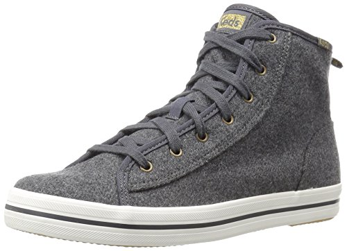 Keds Women's Kickstart Hi Wool Shearling Fashion Sneaker, Charcoal, 7.5 M US