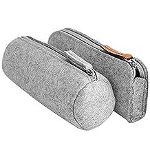 Elisona-2 PCS 2 Style Fashion Felt Pencil Case Bag Pen Eraser Ruler Pouch Holder School Supplies for Students Writers Painters