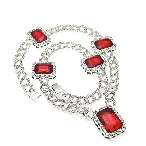 c6d87c049f84 De alta calidad MCSAYS - Collar de cadera de cristal con cinco grandes  piedras de reno