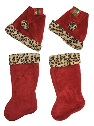 Leopard Red Plush Christmas Stocking & Santa Hat with Plush Trim Set – 4 pieces