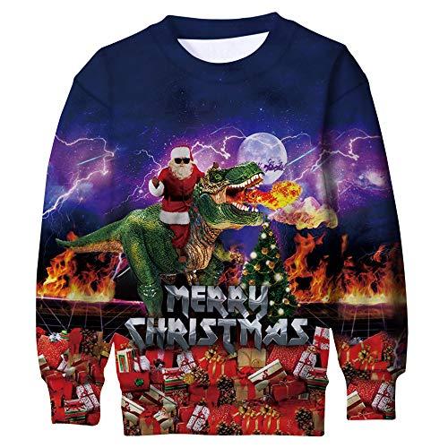 Funnycokid Girls Ugly Chrismas Sweatshirt 3D Digital Printing Santa Claus Funny Kids Pullover Xmas Fleece Jumpers 6-7 Years