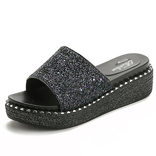PENGFEI Pantofola Zapatillas Verano Hembra Fondo Grueso Lentejuelas Medio Talón Playa, Altura del Talón 5.5CM, 3 Colores (Color : 2#, Tamaño : EU38/UK5.5/US7/240) 1#