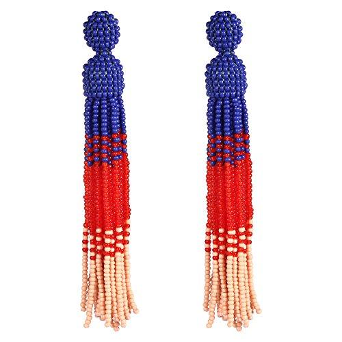 (Bonnie Blue Tassel Earrings Long Fringe Shoulder Beads Tassel Drop Earrings (Blue & Red))