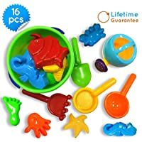 Sand Bucket Toys Icon 16-Piece Baby Beach Toys Set with Zippered Bag. Play in...
