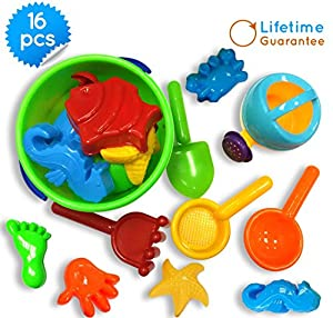 Amazon.com: Sand Bucket Toys Icon 16-Piece Baby Beach Toys Set ...