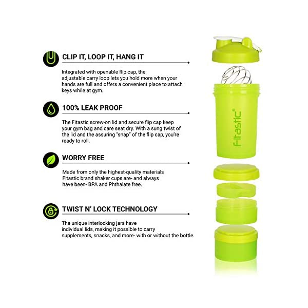 Fitastic ProMax Shaker Bottle 500ml with Extra Storage Compartment 100% Leakproof Guarantee, Ideal for Protein for Gym 2021 August Leak proof, storage container, pill container, water bottle plus shaker for preparation and saving time 100% BPA free, no toxins, no harmful chemicals, very easy to clean, environmentally friendly; ultimate Pro work out supplement bottle and dish washer safe Perfect for protein shakes, smoothies, pancake batter and more.Patented blender ball wire whisk mixes as you shake