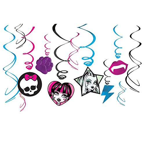 Amscan Unisex Adult Monster High Value Pack Hanging Swirl Decorations Black Medium