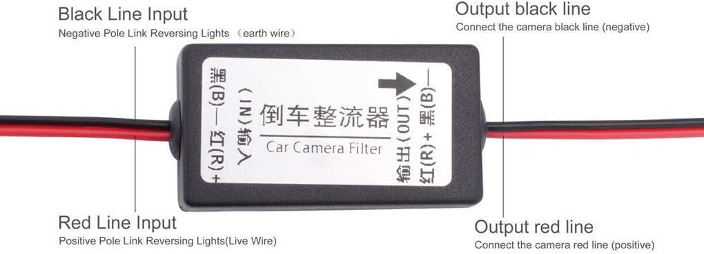 Jinghengrong 12V del Coche de la c/ámara del rectificador c/ámara de visi/ón Trasera de Marcha atr/ás Power Relay Reserva de la c/ámara del Filtro Opcional Automotive