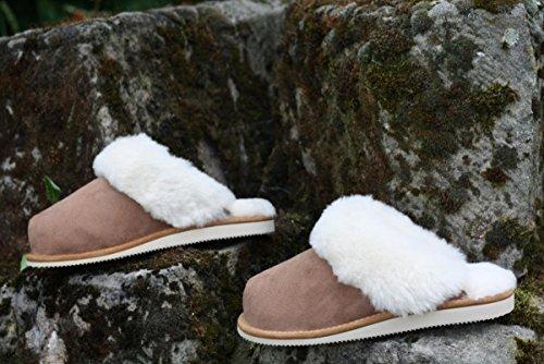 Premium avec Mouton Chaussures de Hollert Leather New Laine Zealand Peau Peau sur de Mouton Merino Chaussons Marron 100 Blanc Femmes vv0zqgTn