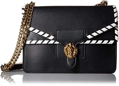 Anne Klein Diana Large Double Flap Chain Bag, Black-Natural/Optic White/Whip Stitch Double Flap Handbag