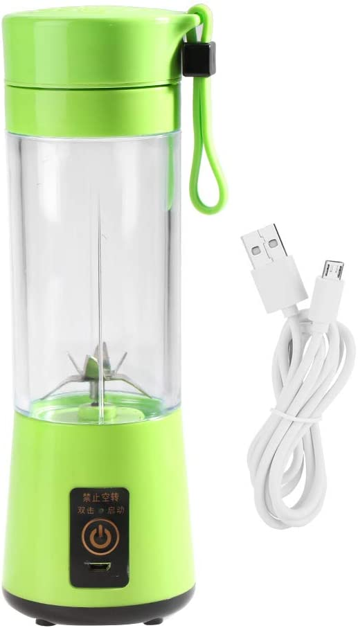 FAMKIT 350-400ML Rechargeable Plastic Juicer Fruit Juicer Machine for Home Juice Smoothie Making (Green)