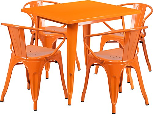 (Flash Furniture 31.5'' Square Orange Metal Indoor-Outdoor Table Set with 4 Arm Chairs)