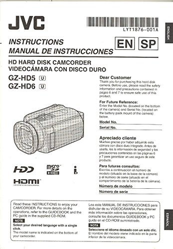 Camcorders Hard - JVC GZ-HD5/GZ-HD6 Hard Disk Camcorder Original Instruction Manual - Dual Language