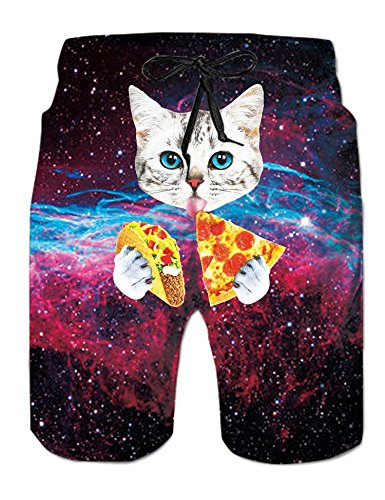 (Uideazone Mens Summer Short Boardshorts 3D Printed Bathing Trunks Galavey Space Pizza Cat)
