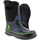 Itasca Unisex-Kids Bayou Rubber Spider Print, Size 2 Rain Boot, Black, 2 M US Little Kid