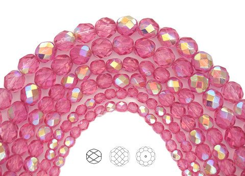 4mm (408pcs) 4 strands, Crystal Pink Rose AB coated, Czech Fire Polished Round Faceted Glass Beads, 16 inch strand