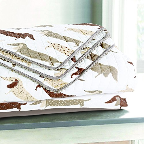 - Sleeping Partners Dachshund Dog Pompom Trimmed Quilt and Pillow Shams, Taupe (Twin)