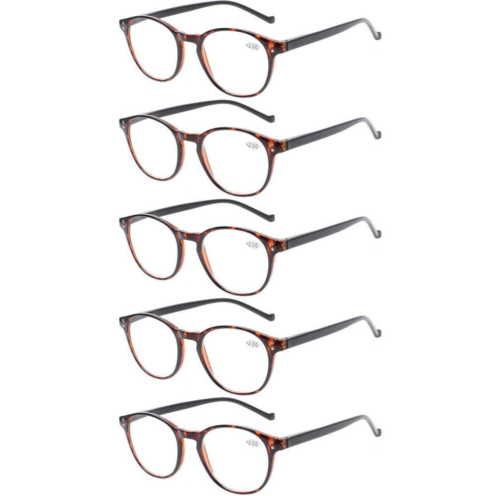 31e19e6cf5 5 Pairs Reading Glasses - Standard Fit Spring Hinge Readers Glasses for Men  and Women product