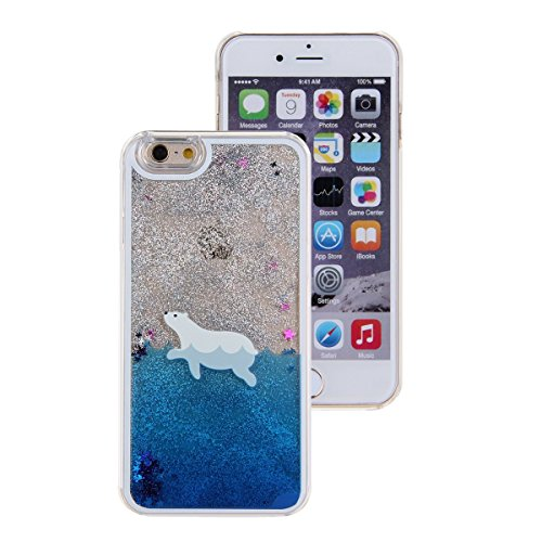 Iphone 7 Liquid Case, Cute Bear Dolphin Giraffe Cartoon Design Case for Iphone 7 Cool Quicksand Moving Stars Bling Glitter Flowing Case with a Screen Protector Gold Rose (Blue) ()