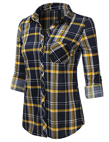H2H Womens Casual Flannel Plaid Checker Button Down Roll Up and Long Sleeves Shirt Top NAVYWHITEMUSTARD US S/Asia S (AWTSTL0484) (Yellow Plaid Flannel)