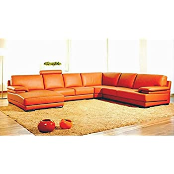 Amazon.com: VIG- Citadel Divani Casa Modern Orange Leather ...