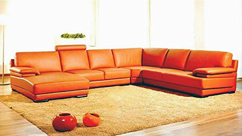 VIG Furniture 2227 Orange Leather Contemporary Sectional Sofa With Chaise (Vig Sectional)