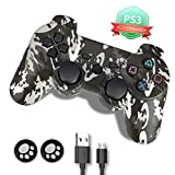 PS3 Controller, PS3 Controller Wireless,Playstation 3 Controller, Wireless PS3 Joystick Double Shock Gamepad Compatible for Playstation 3 with Charger and Thumb Grips (Color: Camouflage Grey)