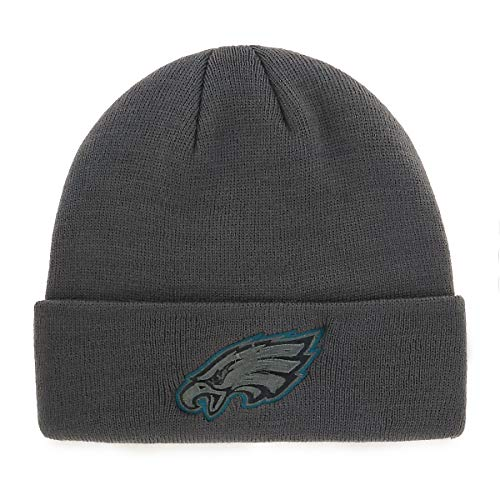 OTS Adult Men's NFL Raised Cuff Knit Cap, Charcoal A A, One Size