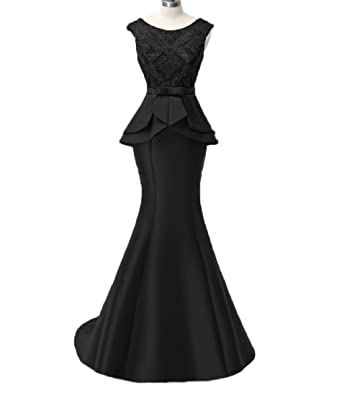 Liaoye Womens Mermaid Evening Dresses Lace Formal Long Satin Prom Gown with Sashes Black 2