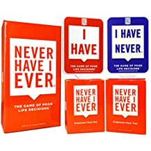 Never Have I Ever Combo Pack Card Game and Expansion Pack One & Two and 10 Paddles