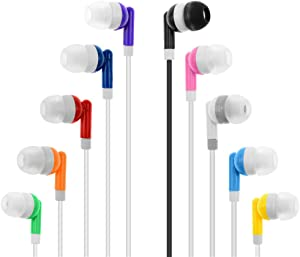 Wholesale Kids Bulk Earbuds Headphones Earphones Assorted Colors for Schools, Libraries, Hospitals,Gifts Individually Bagged (100pack)
