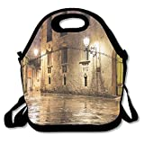 Kooiico Ancient Stone Quarter Of Barcelona Spain Renaissance Heritage Gothic Night Street Photo Lunch Tote Lunch Bag School Mid-sized