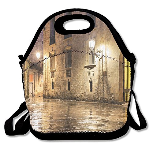 Kooiico Ancient Stone Quarter Of Barcelona Spain Renaissance Heritage Gothic Night Street Photo Lunch Tote Lunch Bag School Mid-sized by Kooiico
