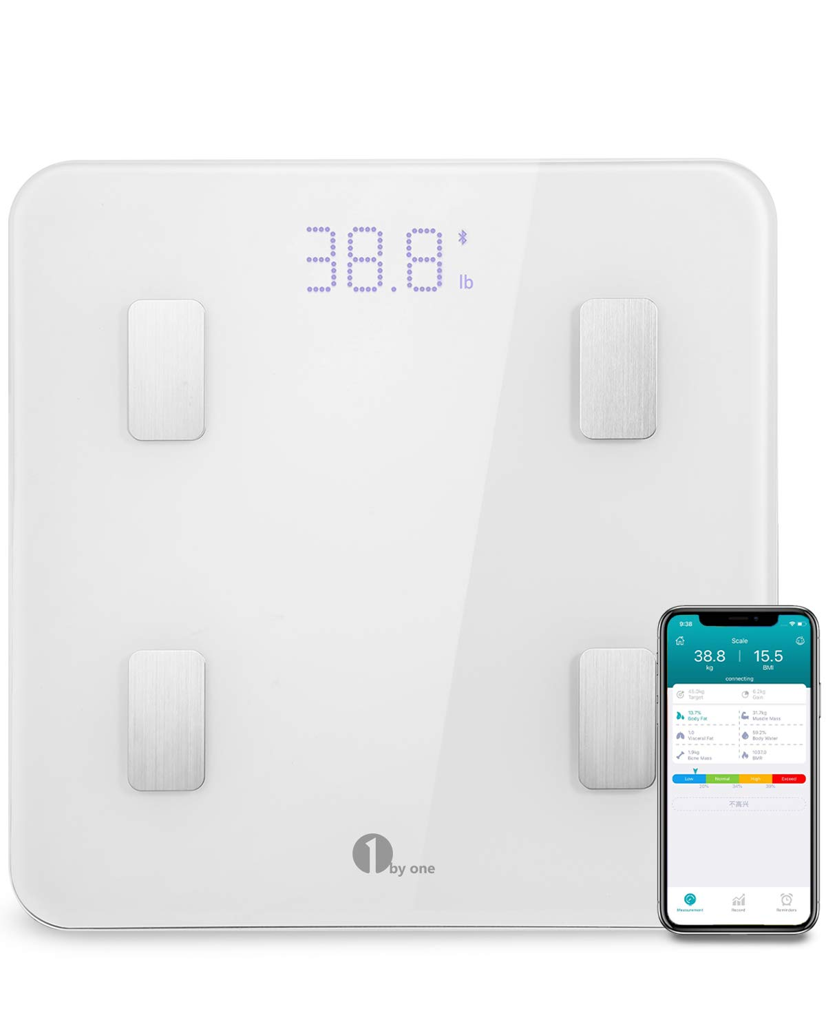 1byone Bluetooth Body Fat Scale with IOS and Android App Smart Wireless Digital Bathroom Scale for Body weight, Body Fat, Water, Muscle Mass, BMI, BMR, Bone Mass and Visceral Fat, White 4332442543