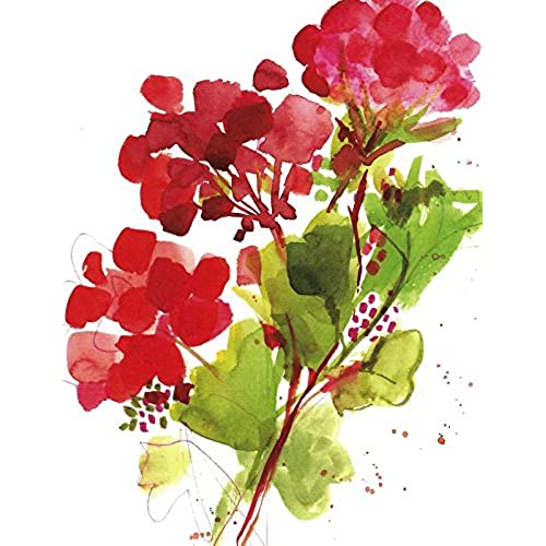 Gina B. Designs Red Geranium Boxed Blank Note Cards-- Set of 8 with Red Envelopes Sales