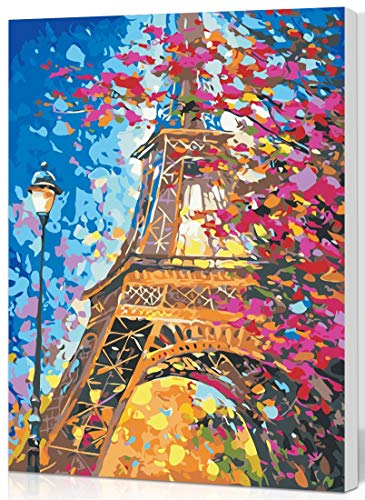 SHUAXIN DIY Oil Painting Paint by Number Kit for Adults, Paint by Numbers for Kids Drawing with Brushes Paint - Eiffel Tower 16×20 Inches with Wooden Framed