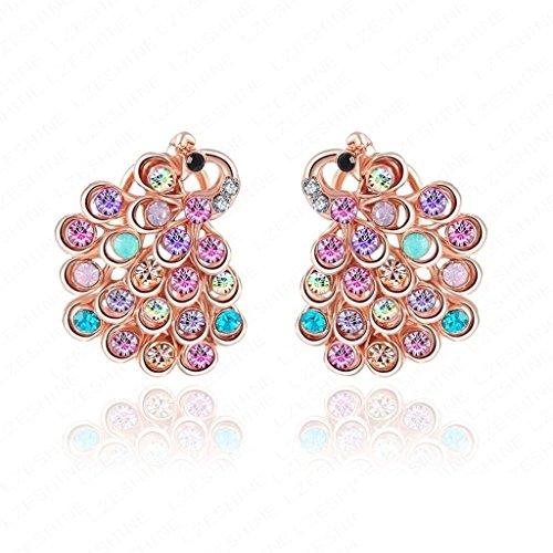 Daesar Rose Gold Plated Earrings Women Peacock Cubic Zirconia Earring for Women - Sophia Collection Chandelier
