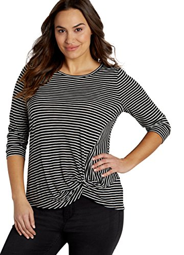 Maurices-Womens-The-247-Plus-Size-Striped-Tee-With-Knot-Hem-In-Black-Combo