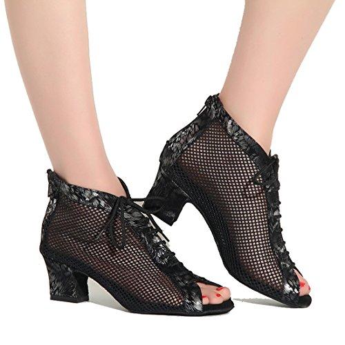 Tda Qj7018 Vrouwen Lace-up Mesh Salsa Tango Ballroom Latin Bruiloft Dansschoenen Zwart-5cm Dikke Hak